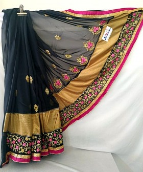 Black with Gold Embroidery Sarees