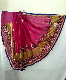 Pink with Zari Embroidery Sarees
