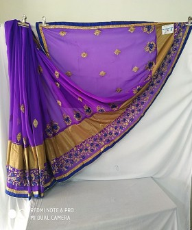 Violet Embroidery Work Sarees