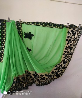 Green with Black Embroidery Sarees