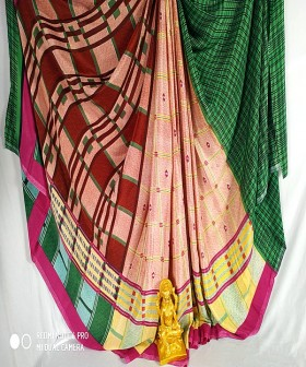 Green with Pink Poonam Silk Sarees