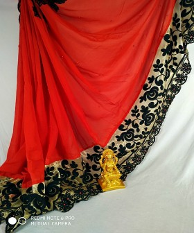 Red Plain Border Embroidery Sarees