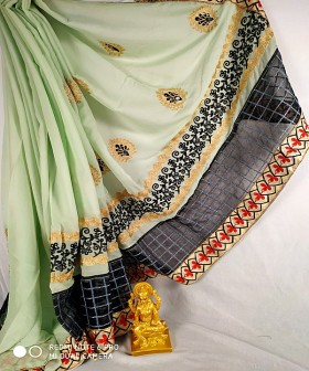 Green with Black  Zari and Lace Sarees