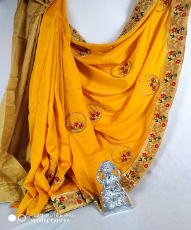 Golden Yellow with Gold lace Cotton Sarees