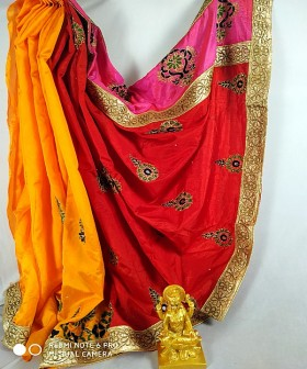 Orange with Red Embroidery Silk Sarees