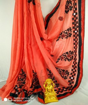Pink and Orange Black Embroidery Sarees