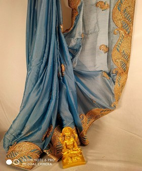 Blue Stone and Beats Embroidery Sarees