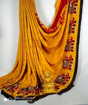 Dark Yellow with maroon Georgette Sarees