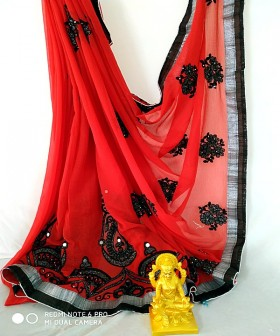Red with Black Embroidery Sarees