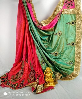 Red with Green Embroidery Designer Sarees