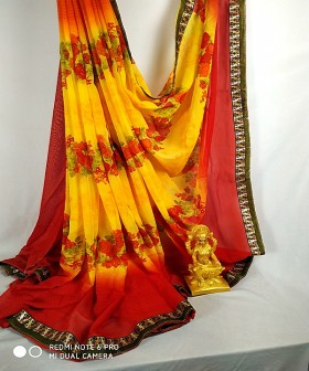 Dark Yellow with Red Georgette Sarees