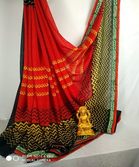 Red with Black Georgette Sarees