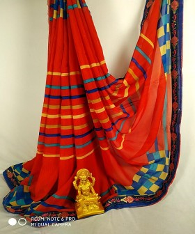 Red with Blue Georgette Sarees