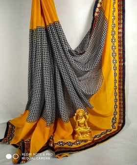 Yellow with Brown Georgette Sarees