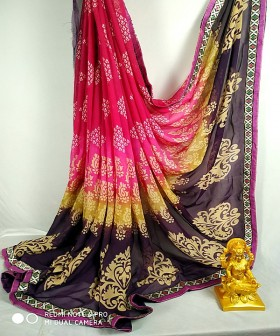 Pink with Violet Georgette Sarees