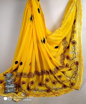 Dark Yellow Print and Embroidery Sarees