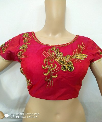 Pink Plain Thread Embroidery Blouse